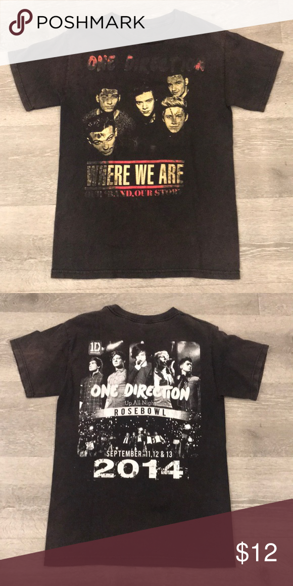 "????Perfectly distressed One Direction T Shirt Perfectly distressed One Direction ""Up all night"" tour T Shirt.  Only available for the 2014 show at the Rose Bowl.   #harrystyles #1D #one direction Shirts Tees - Short Sleeve #onedirection2014"