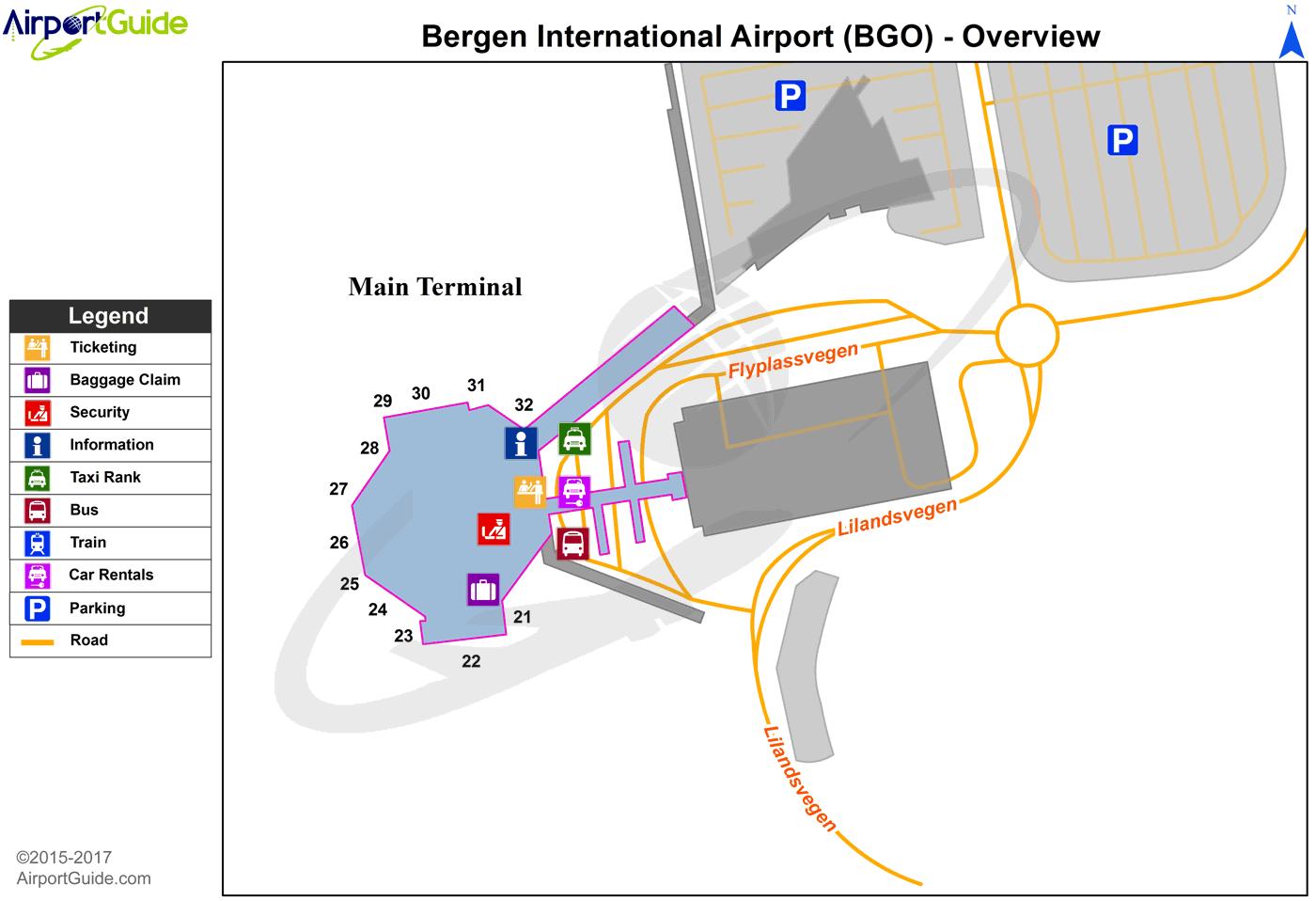 bergen airport terminal map Bergen Bergen Flesland Bgo Airport Terminal Map Overview bergen airport terminal map