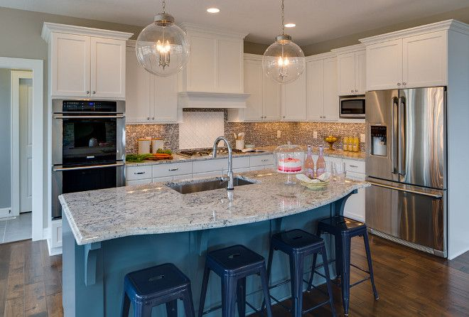 White kitchen with blue island paint color benjamin moore - Design home interiors montgomeryville ...