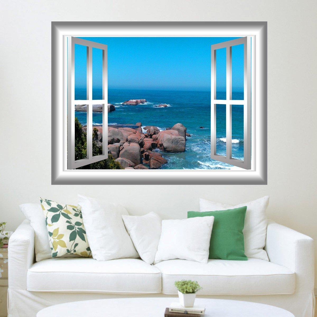 Vwaq Ocean Scene Rocky Beach Peel And Stick Window Frame Vinyl