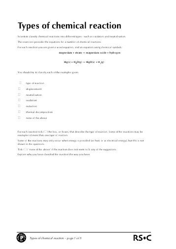 Six Types Of Chemical Reaction Worksheet Chemical Reactions