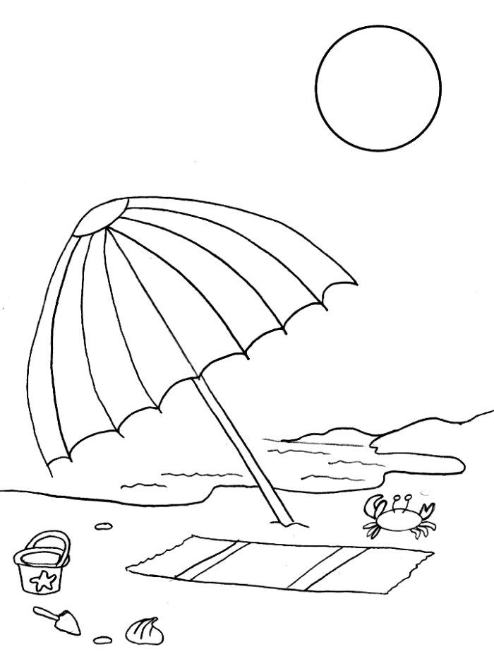 Umbrella In Beach Coloring Pages Disney