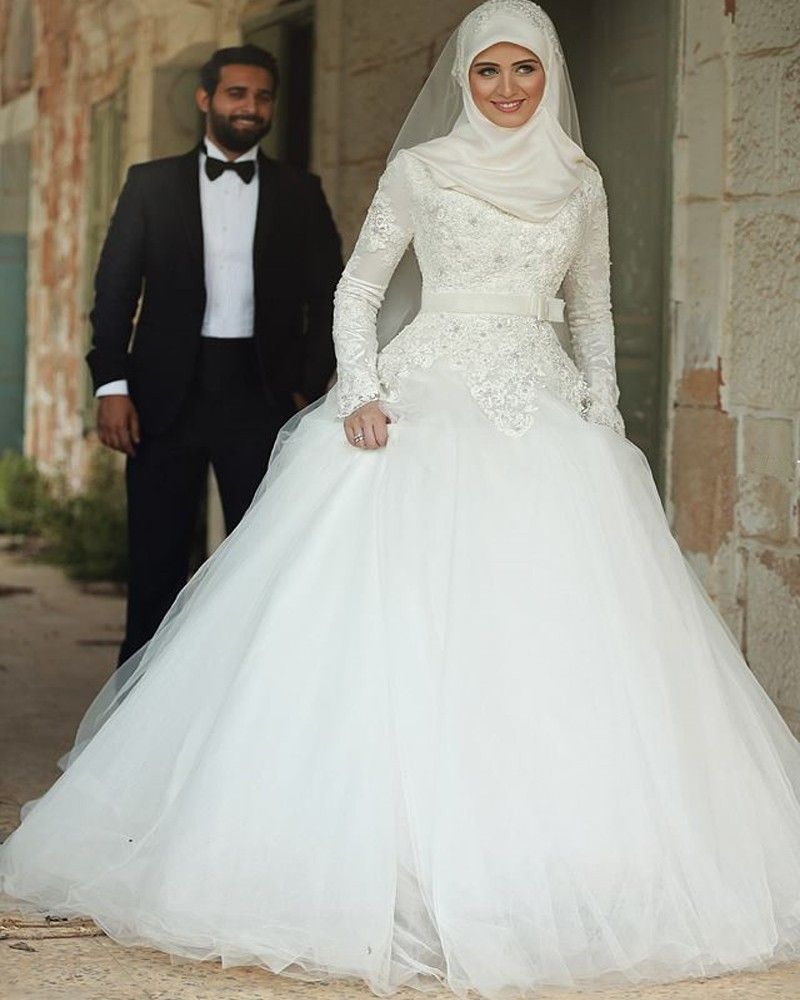 Arabic Long Sleeve White Ball Gown Wedding Dresses With Hijab ...