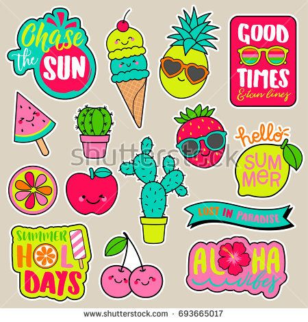 Set of girl fashion patches colorful cute cartoon badges fun stickers design vector in summer holidays concept