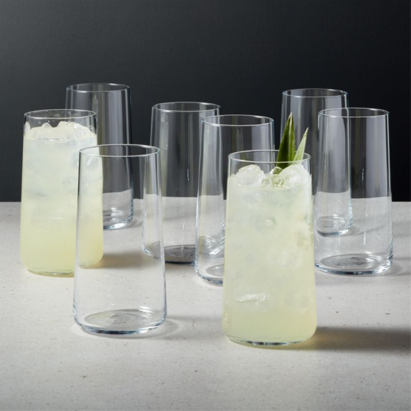 A clear choice for everyday glassware. Eight round, micro-thin coolers with tapered shams hold drinks with cool simplicity. Pair set with the Neat tasting and double old-fashioned glasses. CB2 exclusive.  -Soda lime glass -20 oz -Dishwasher-safe -Made in Poland