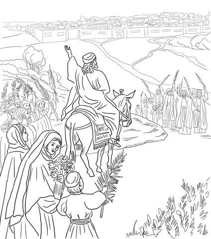 Entrada triunfal a Jerusalén Dibujo para colorear   bible class ...