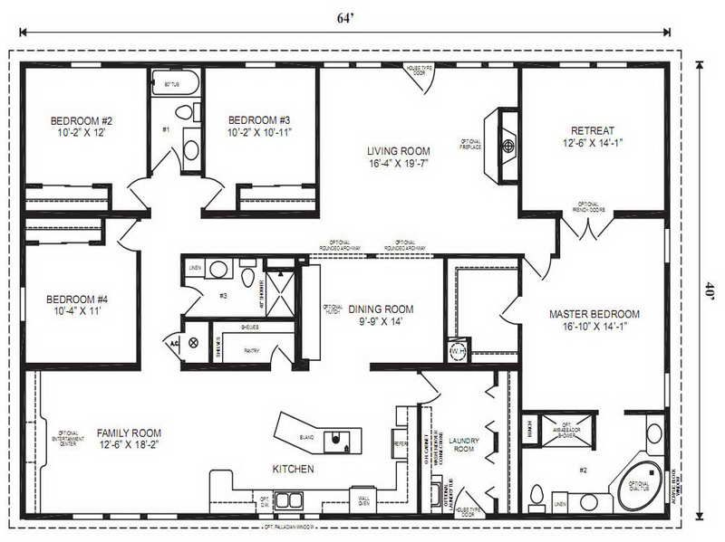 4 Bedroom Mobile Home Plans | Bedroom Double Wide Mobile Home Floor Plans  Doublewide 4 Bed 2 Bath ... | House Plans | Pinterest | House, Bedrooms And  Dream ... Part 57