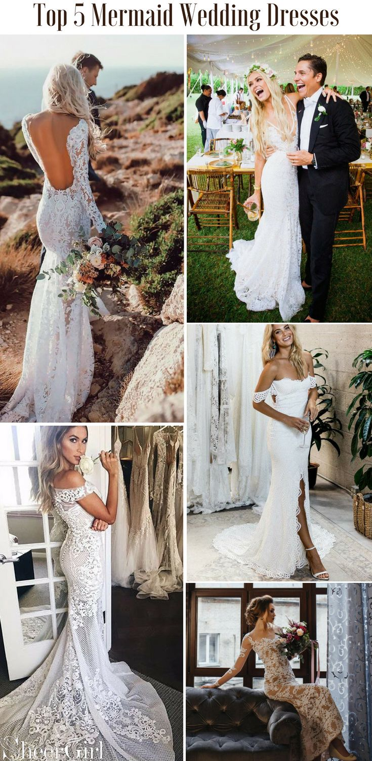 Rustic lace wedding dress  Mermaid lace wedding dresses on a budget Ivory Weddign Dresses