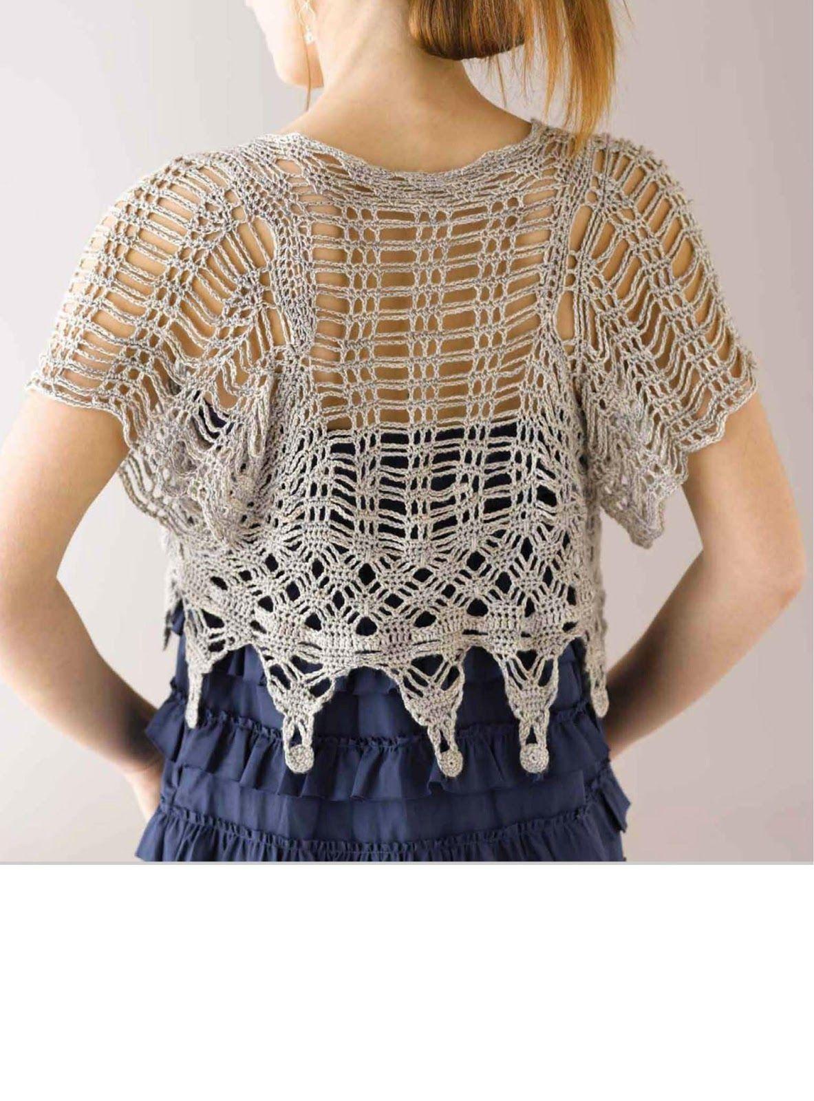Bolero de Crochet Bege | Muster, Häkeln und Tagebücher
