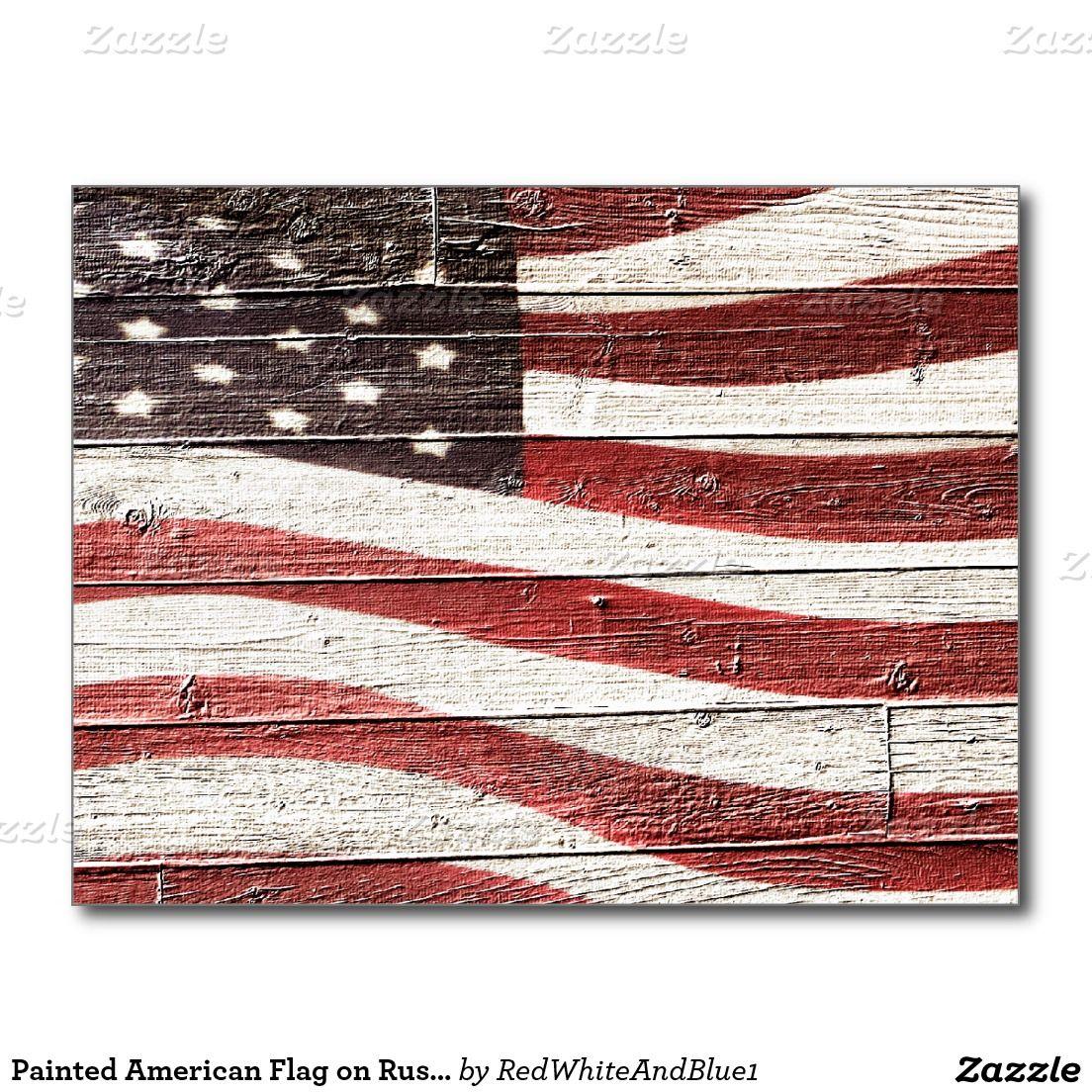 #Patriotic American Flag on Rustic Wood Texture Postcard by #RedWhiteAndBlue1  #Gravityx9 -