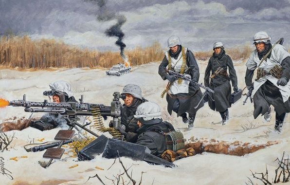 Photo wallpaper team, repair, art, WW2, htonic, soldiers ...