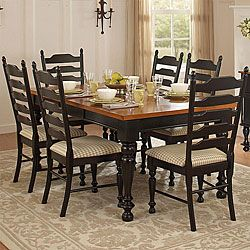 country charm two-tone 7-piece dining table set | country charm