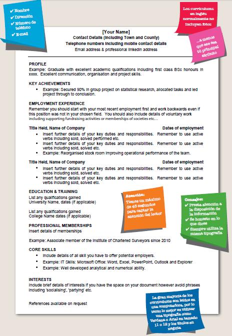 Tú CV o currículum vitae es una herramienta clave para la búsqueda ...
