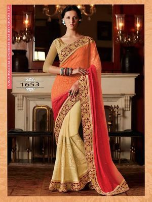 Multy Padding Pure Net Worked Georgette Saree With Blouse Bollywood Sarees Online on Shimply.com