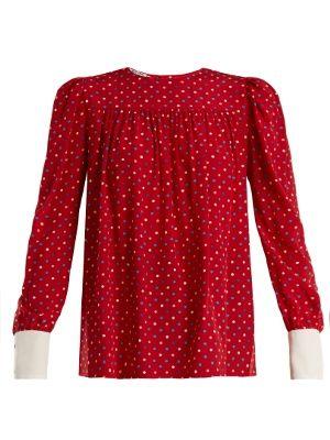 Polka dot print silk crepe de Chine blouse   Miu Miu