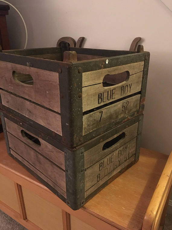 Vintage Milk Crate Wood Crate Metal Crate Farmhouse Decor Rustic Storage Crate Decor Wood Crates Milk Crates