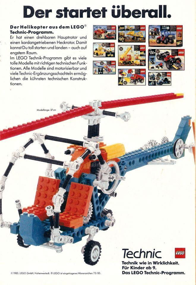 Lego Technic Helicopter (1983) | Lego | Lego, Lego kits, Vintage lego