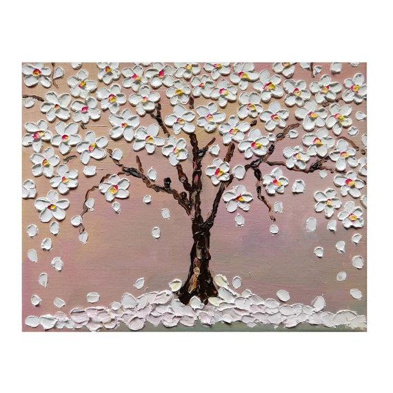 Cherry Blossom Tree Original Small Oil Impasto Painting On Etsy Cherry Blossom Painting Cherry Blossom Painting Acrylic Cherry Blossom Tree