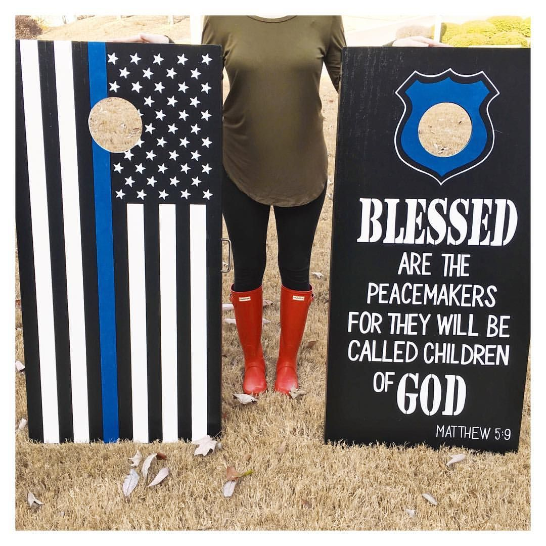 Thin Blue Line Gifts For Him Cornhole Boards Hand
