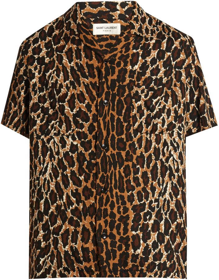 SAINT LAURENT Short-sleeved leopard-print twill shirt