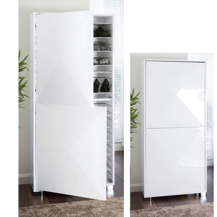 Space Gloss Shoe Cupboard White H164cm W75cm D32cm GBP399 Dwellco