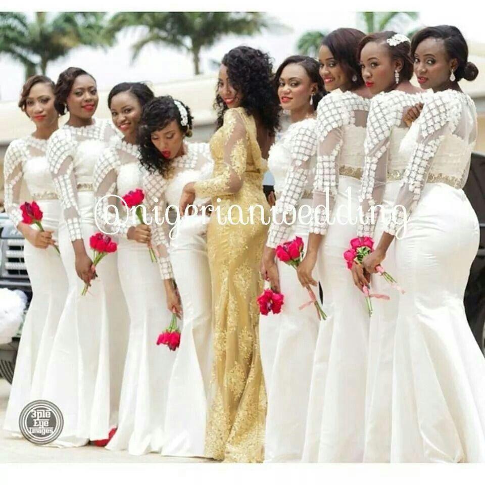 Beautiful Bridesmaid African Wedding Dress White Bridesmaid Dresses