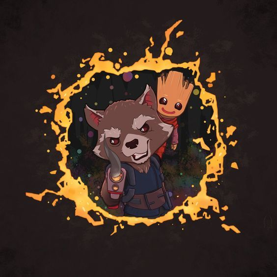 Fan art of 'Rocket' and 'Baby Groot' from 'Guardians Of The Galaxy: Vol 2' (2017):