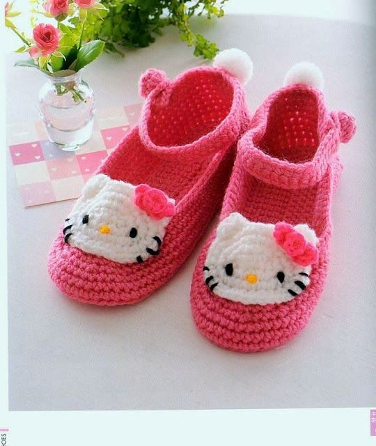 Zapatitos de Kitty tejidos al crochet paso a paso - Imagui