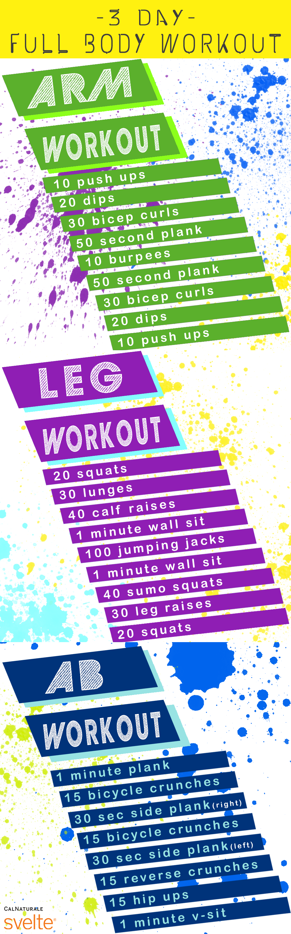 Use this handy day whole body workout program to tone your arms
