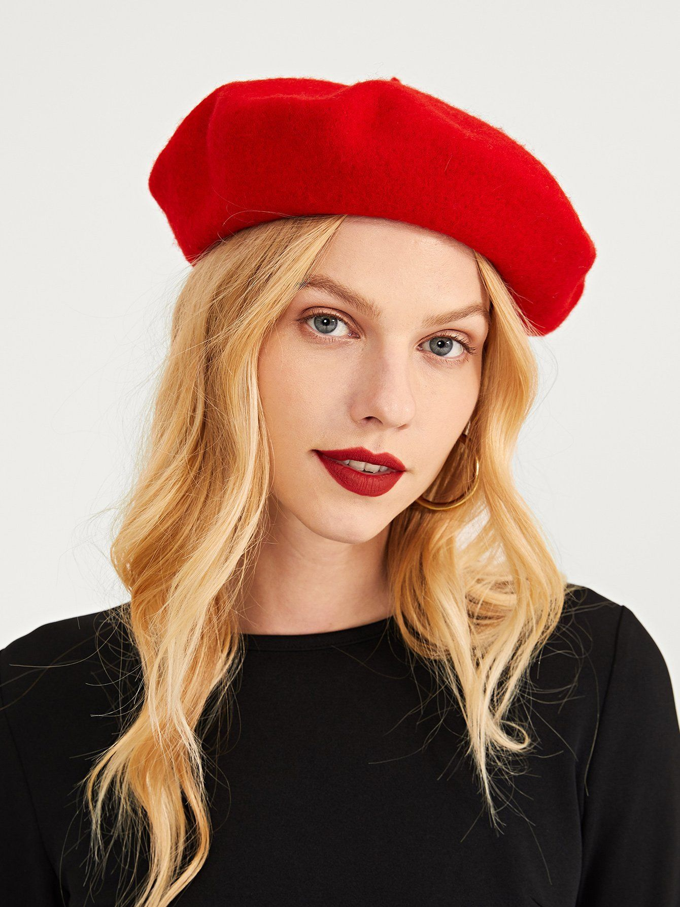 4e769a51797a85 Women's Plain Red Beret Cap FREE SHIP in 2019 | 美女2 | Beret, Red ...
