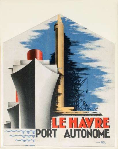 Ventes Aux Encheres Paris Rene Mery Le Havre Port Autonome Lithographie En Couleurs Le Havre Paquebot Sainte Adresse