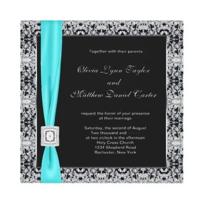 Teal Blue Black And Silver Wedding Card