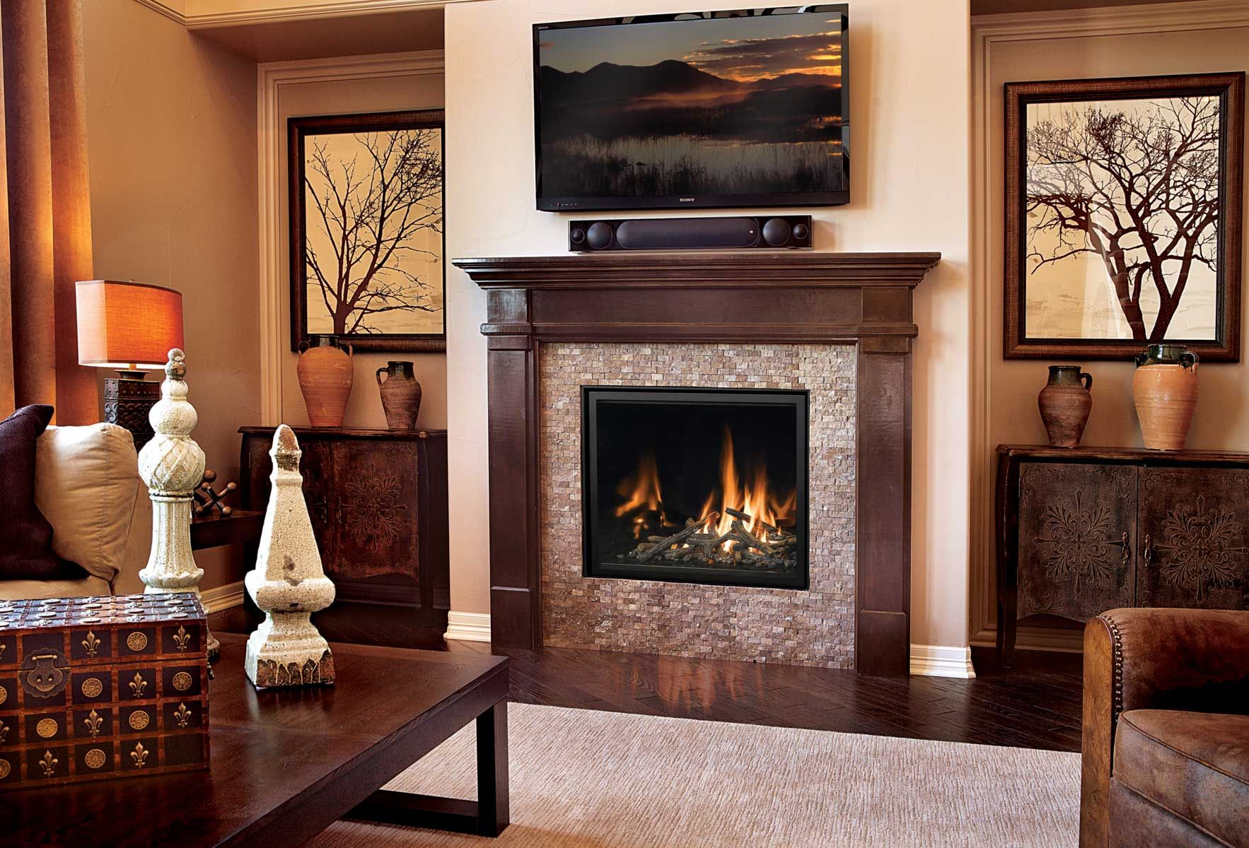 Classic fireplace design with a modern twist