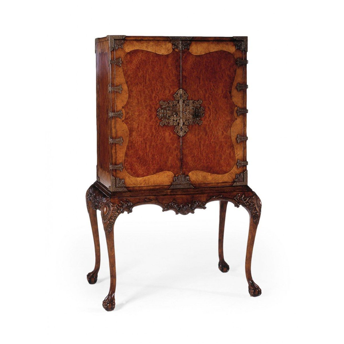 Queen anne writing cabinet with fine brass hardware home office