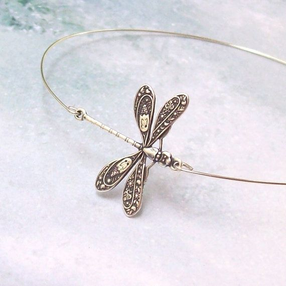 Dragonfly Bracelet Bangle Arm Stacking Silver Minimal Stainless Hypo Allergenic Boho Insect