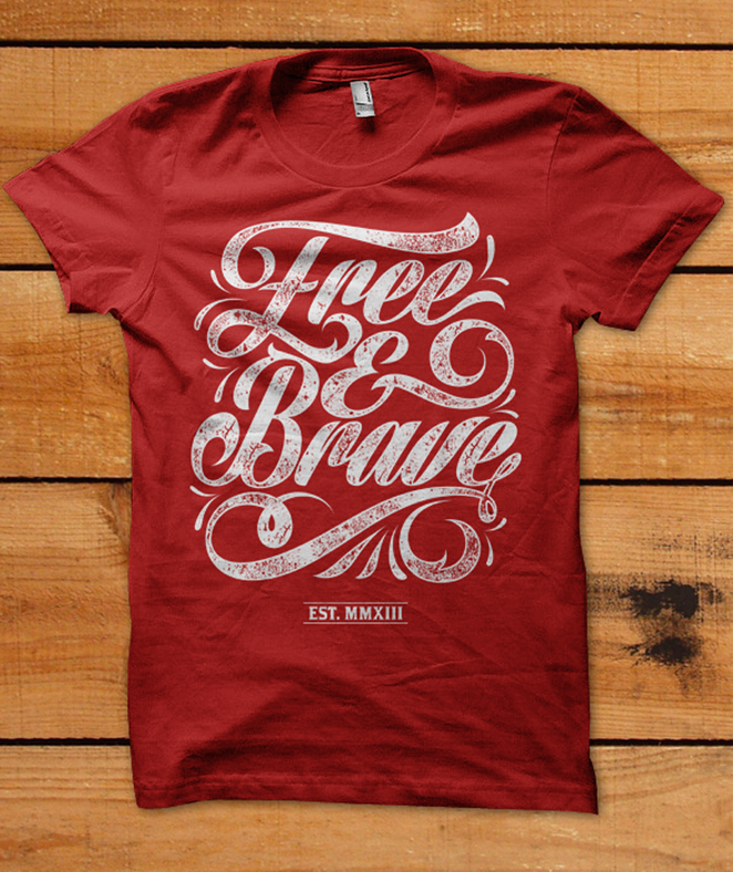 dd506a140 03.29.2013 | t-shirt design for Free & Brave by daanish #red #typography  #POTD99