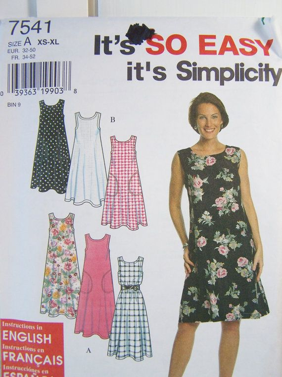 Simplicity 7541 Dress Sewing Pattern Misses by WitsEndDesign ...