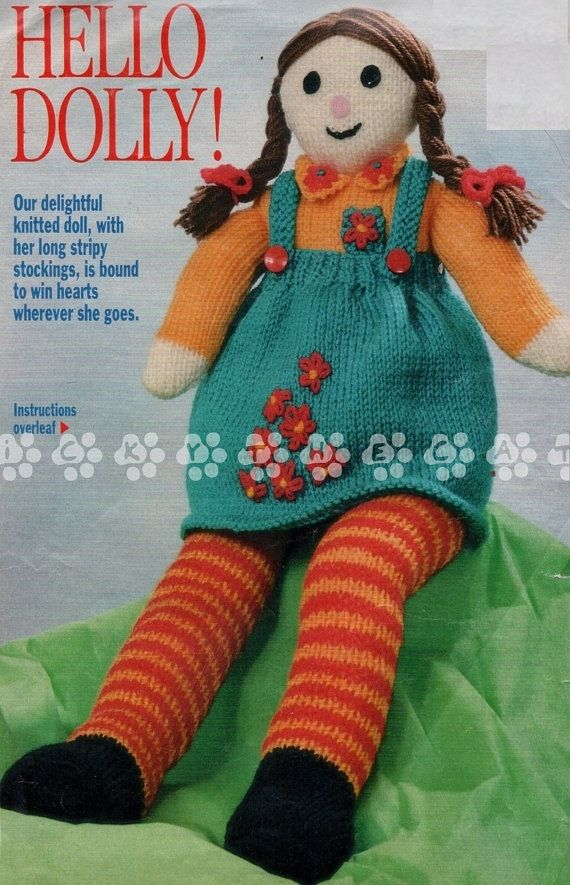 Vintage 70s Knitting Pattern To Make Stuffed Soft Plush Toy Rag