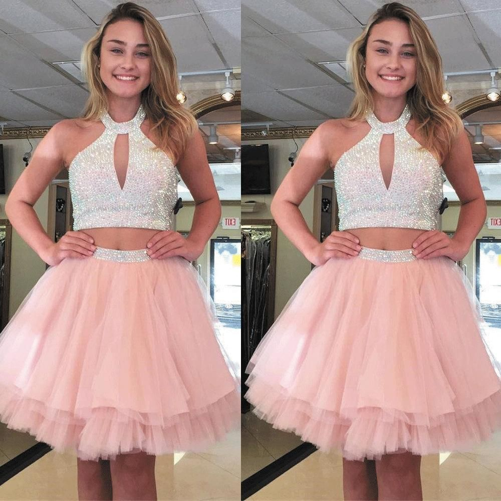 Pink Homecoming Dresses Short 2020 Beaded Halter Cheap Graduation Dresses 2 Piece Prom Dresses Cheap Graduation Dresses Homecoming Dresses Short Pink Homecoming Dress [ 1000 x 1000 Pixel ]