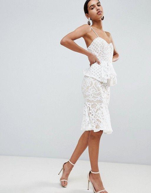 Boohoo Exclusive Lace Peplum Midi Dress Britt Grad