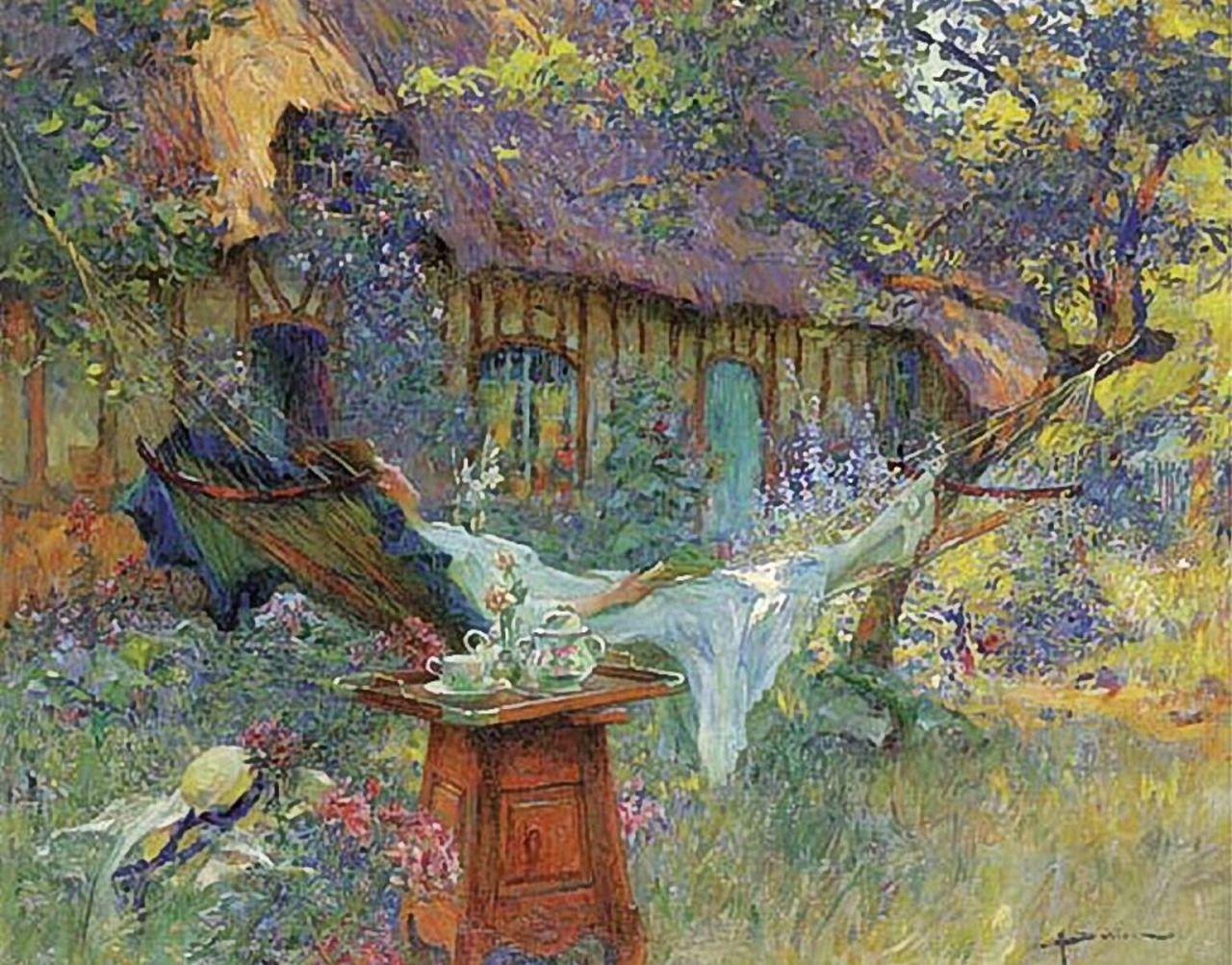 "art-centric: "" Henri Gaston Darien - A lazy afternoon """