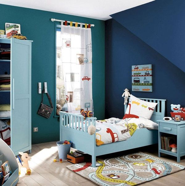 infantiles para chicos dormitorios azules cortinas