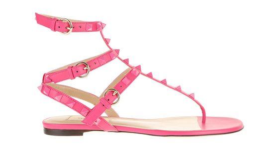 Valentino sandales en cuir rose