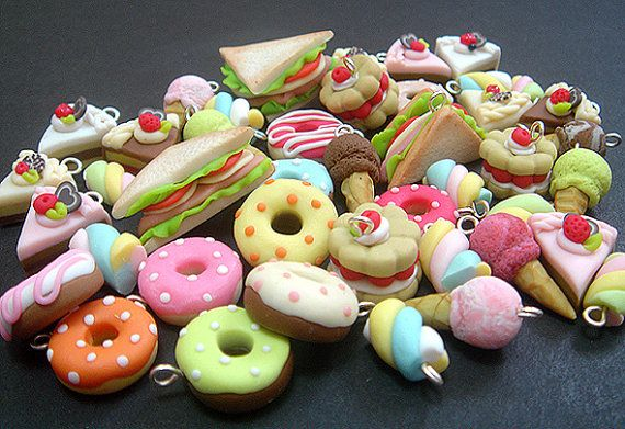 10 Assorted Cute Polymer Clay Charms, Miniature Pastry, Marshmellow, Ice-Cream cone, Sandwich, Donut, Cakes, handicraft, Accessories on Etsy, £7.72