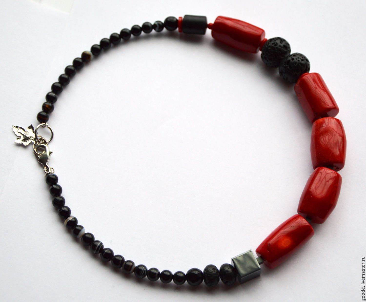 Photo of Buy Necklace made of coral and magma – bright red color …