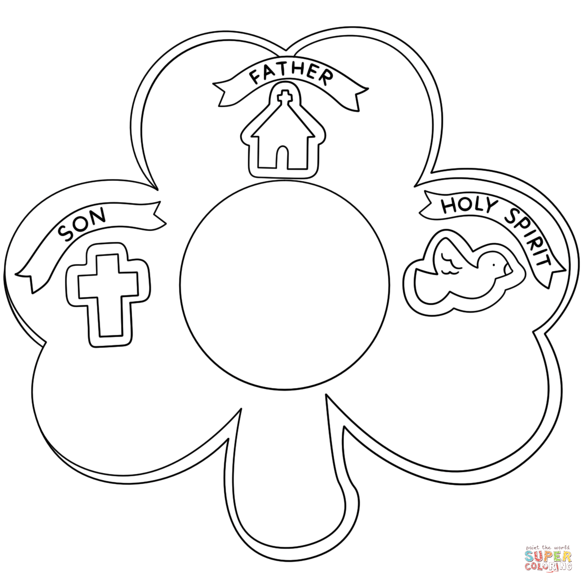 Shamrock Holy Trinity coloring page from Church category