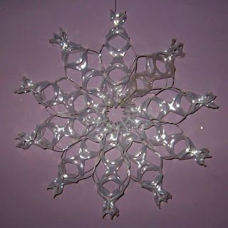 How To Recycle 6pack Rings Into Snowflake Snow Flakes Diy Snowflake Craft