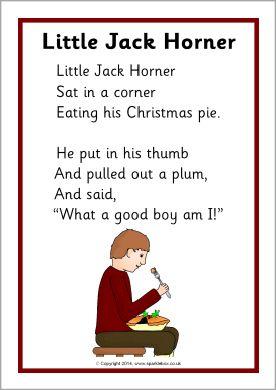 Little Jack Horner Rhyme Sheet Sb10869 Sparklebox