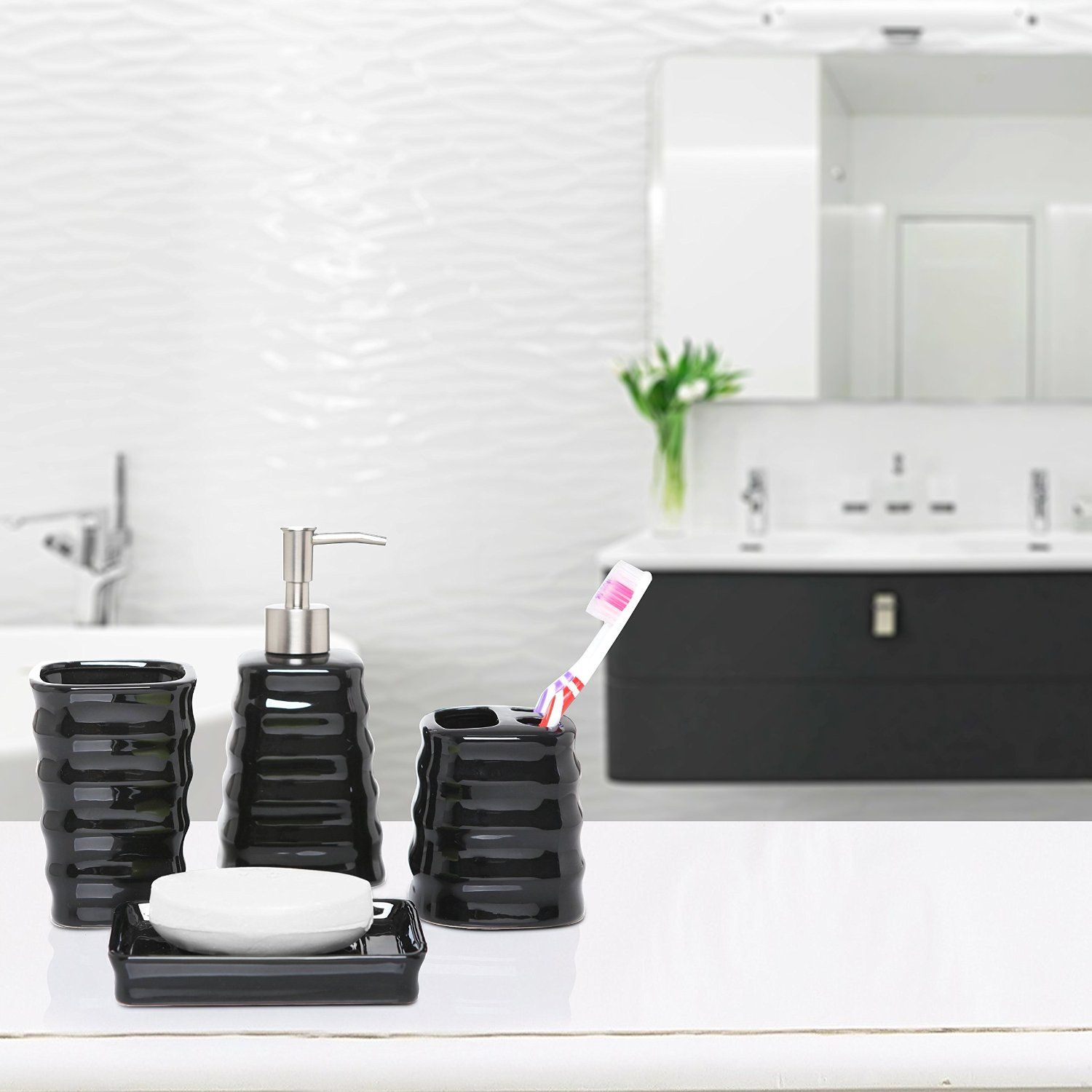 4 Piece Ribbed Black Ceramic Bathroom Accessory Set W Toothbrush