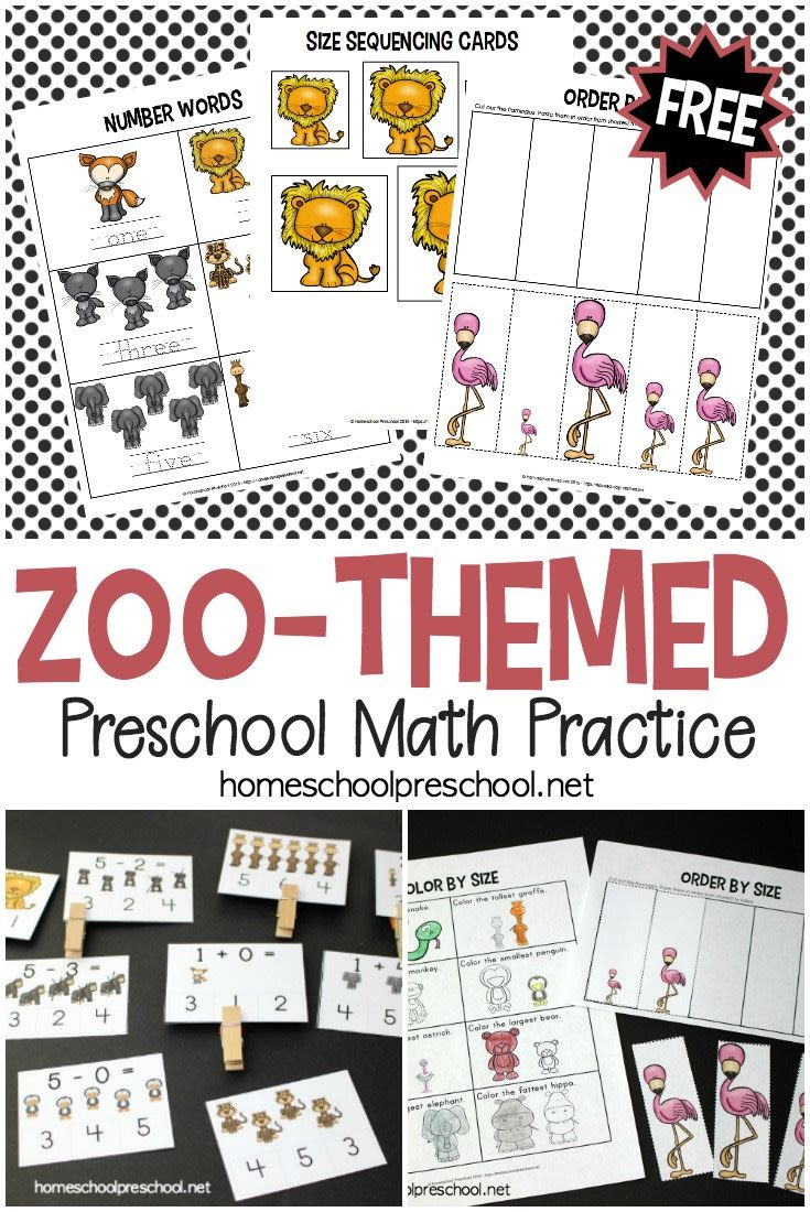 FREE Zoo-Themed Preschool Math Worksheets | Pinterest | Zoo ...